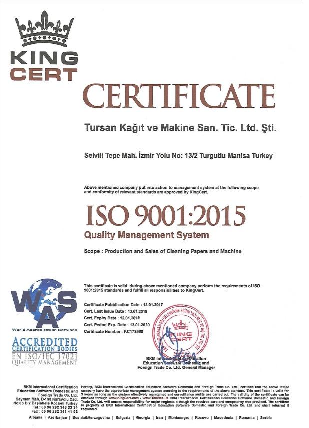 Tursan Makine Quality Management System - EN