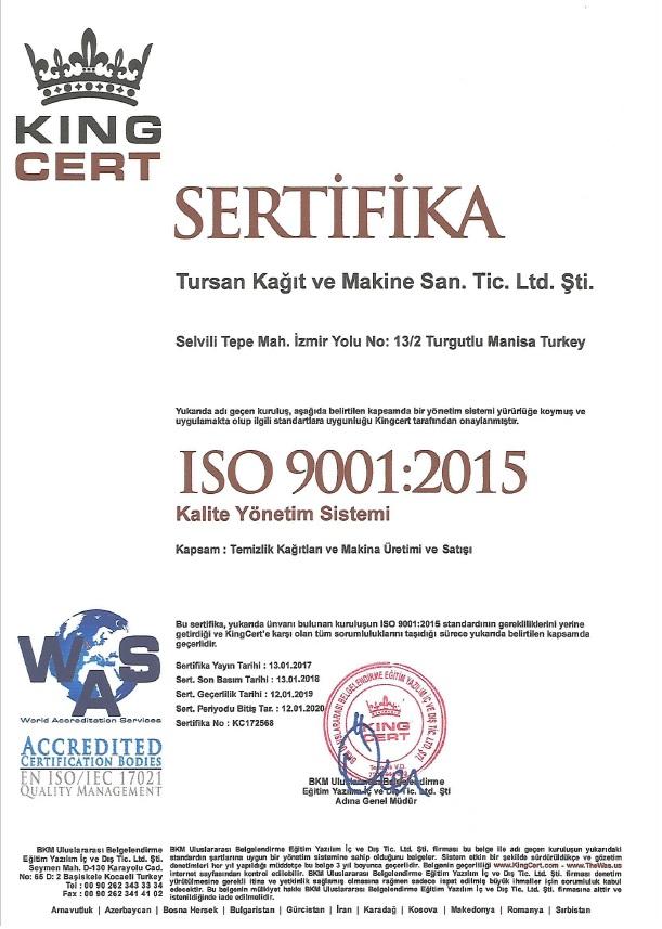 Tursan Makine ISO Kalite Yönetim Sistemi - TR